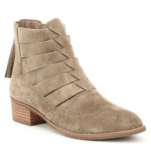 New Volatile Distressed Cut Out Woven Bootie Taupe